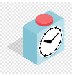 Clock with red button isometric icon vector