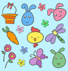Collection of easter syle doodles vector