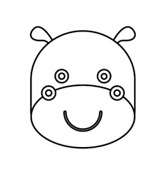 Cute hippo animal isolated icon vector