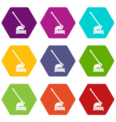 Cutting machine icon set color hexahedron vector