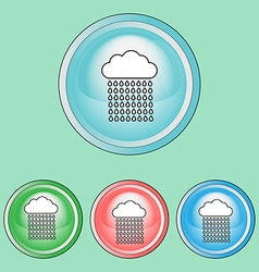Ecology icons set climate change rain clouds line vector