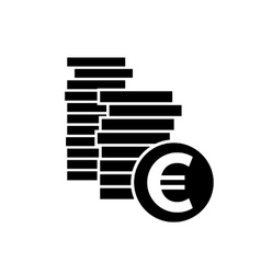 Euro coin simple icon vector