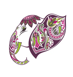 Fantasy patterned elephant vector image