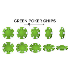 green poker chips realistic set poker vector image vector image