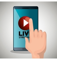 Hand touch smartphone media player design vector