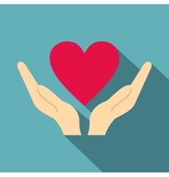 Hands holding heart icon flat style vector image