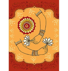 India woman hands and lotus background vector