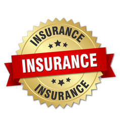 insurance 3d gold badge with red ribbon vector image vector image
