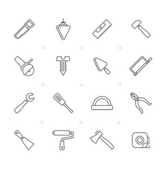 line building and construction tools icons vector image vector image
