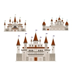 Medieval palaces or castles with towers and spires vector image