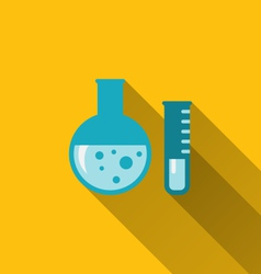 modern flat icons of chemical tubes with long vector image
