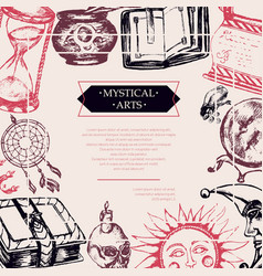Mystical arts - color vintage postcard vector