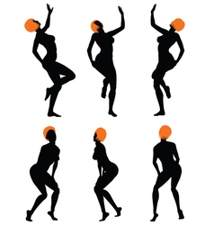 Naked sexy girls silhouette set vector