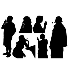 People smoking cigarette and pipe vector
