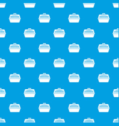 pet carry case pattern seamless blue vector image vector image