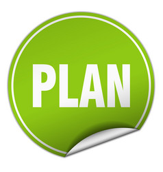 Plan round green sticker isolated on white vector