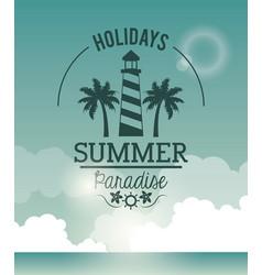 Poster sky ocean landscape of logo holidays summer vector