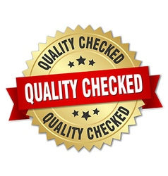 Quality checked 3d gold badge with red ribbon vector