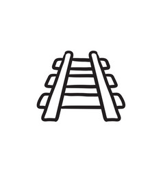 Railway track sketch icon vector