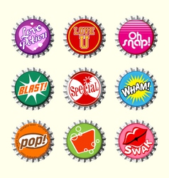 retro bottle cap designs 2 vector image