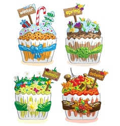 seasons cupcakes on a white background vector image vector image