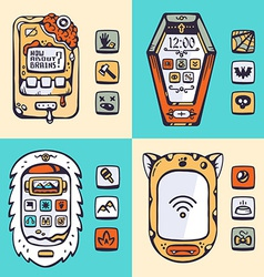 Set of detailed phones of the future with the vector image vector image