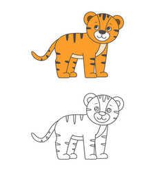 tiger for coloring book vector image
