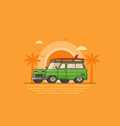 travel surfing car on summer beach vector image