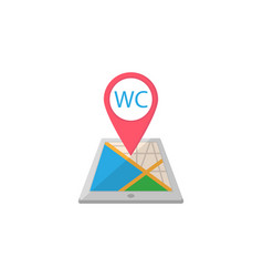 Wc toilet map pointer flat icon mobile gps vector