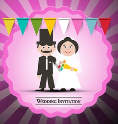Wedding invitation retro card with flags and pink vector