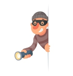 Thief with flashlight peeping out of the corner vector