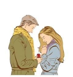 Boyfriend requesting hand of his girlfriend with a vector image