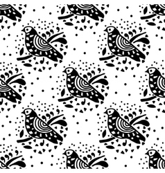 Black and white bird pattern vector