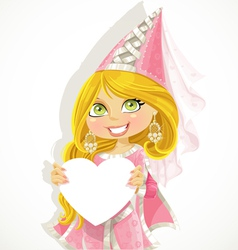 Pretty princess holding a banner-heart vector image