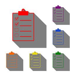checklist sign set of red orange vector image