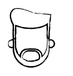 head man male beard hairstyle person sketch vector image