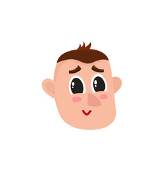 Male head smiling face rosy cheeks big eyes vector
