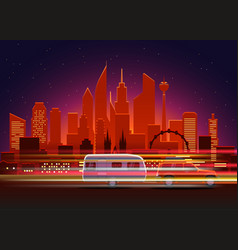 Car traces in modern city with night illumination vector