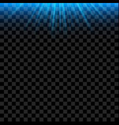 Blue bright light rays with realistic glowing vector