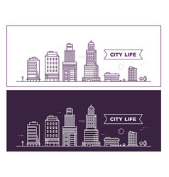 White and black city landscape on different vector
