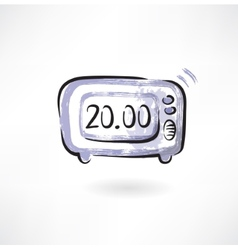 electronic alarm clock grunge icon vector image