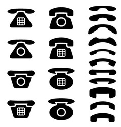 Black old phone and receiver symbols vector