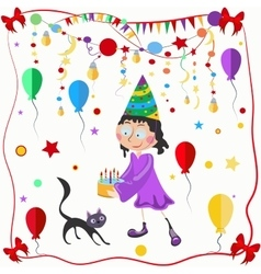 Girl and cat celebration balloons bows vector