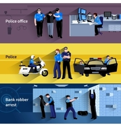 Policeman people horizontal banners vector