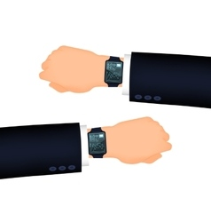 Mans hand right and left with smart watch vector