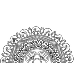 Circular decorative line half mandala icon vector