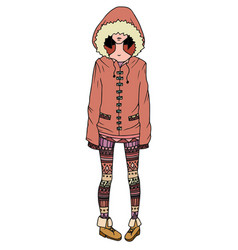 A girl in a coat and leggings decorated with tri vector