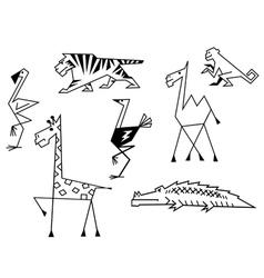 African savanna animals set vector image vector image