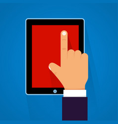 cartoon hand touching a tablet vector image