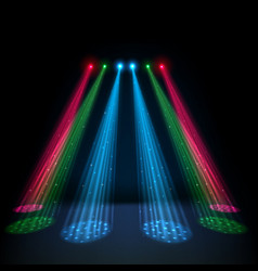 colorful glow spotlights with white podium vector image vector image